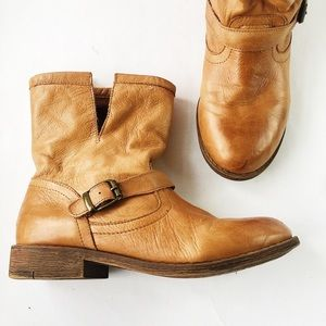 leather moto engineer boots
